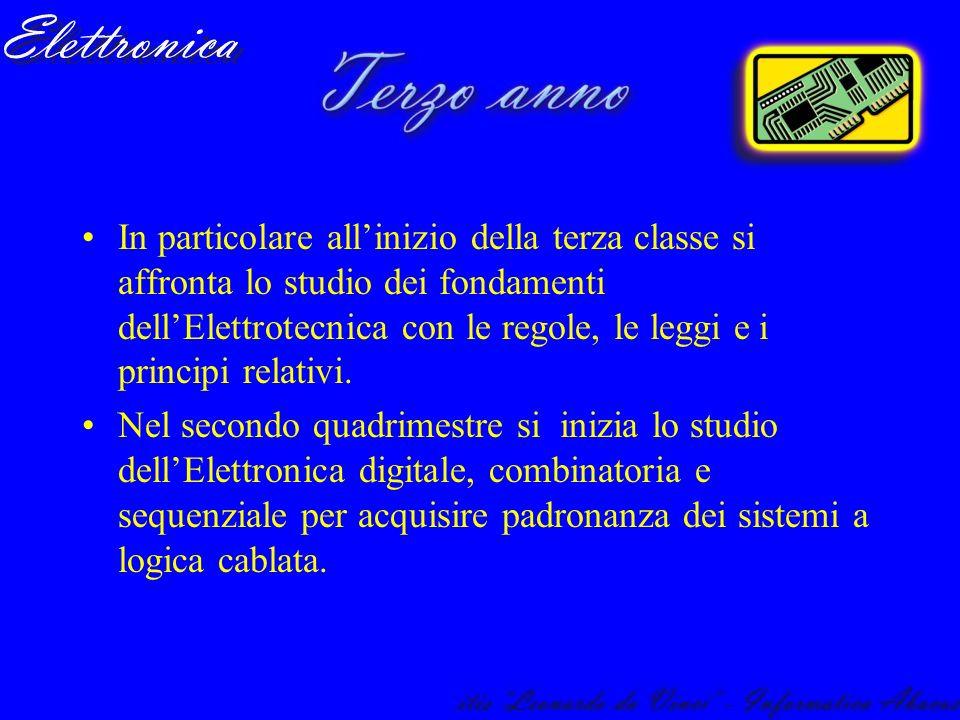 In particolare allinizio della terza classe si affronta lo studio dei fondamenti dellElettrotecnica con le regole, le leggi e i principi relativi. Nel