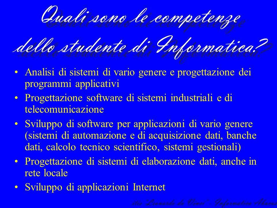 Analisi di sistemi di vario genere e progettazione dei programmi applicativi Progettazione software di sistemi industriali e di telecomunicazione Svil
