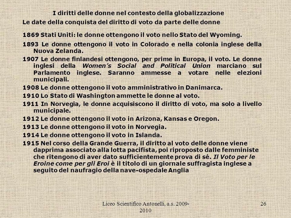 Liceo Scientifico Antonelli, a.s. 2009- 2010 26 I diritti delle donne nel contesto della globalizzazione Le date della conquista del diritto di voto d