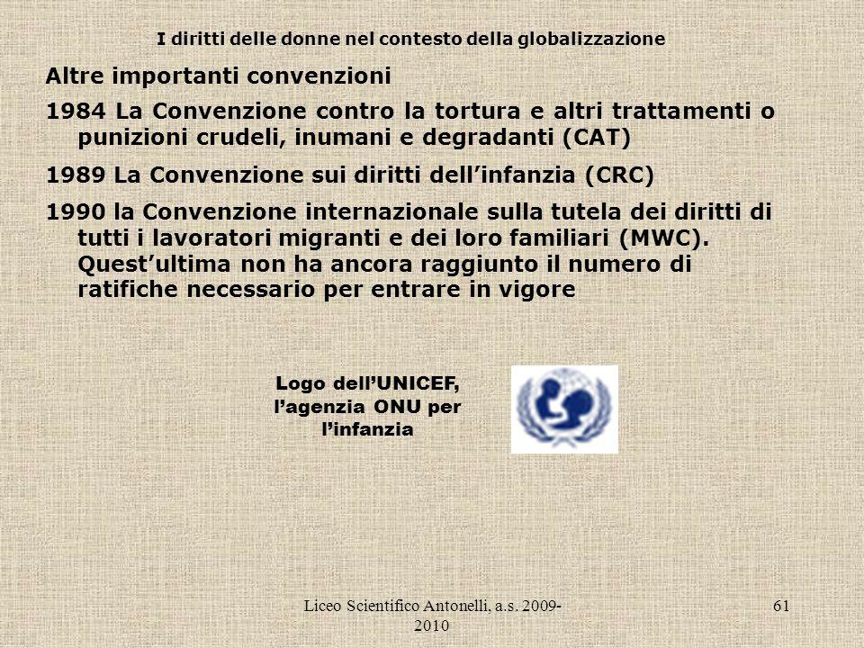 Liceo Scientifico Antonelli, a.s. 2009- 2010 61 I diritti delle donne nel contesto della globalizzazione Altre importanti convenzioni 1984 La Convenzi