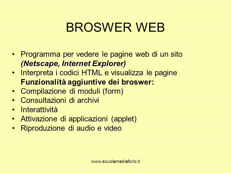 www.scuolamediaforio.it La Pagina Web Elemento di base della tecnologia WWW: documenti con testo, immagini, moduli, audio, animazione Organizzazione i
