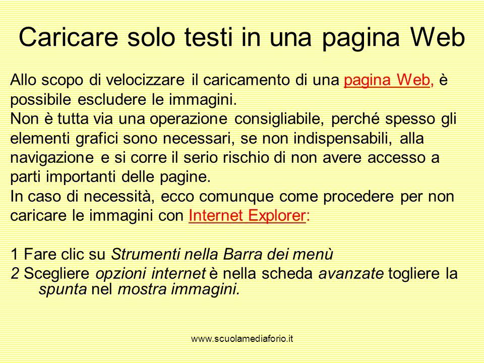 www.scuolamediaforio.it Visualizzare le immagini di una pagina Web pagine Web GIF eJPG. Le pagine Web sono composte sempre più da elementi grafici, os