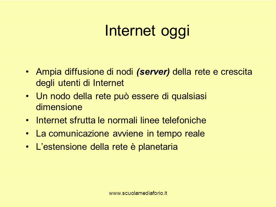 www.scuolamediaforio.it Origini di Internet (ARPANet)1969: progetto del Ministero della Difesa degli Stati Uniti (ARPANet) (CSNet)Anni 70: rete di com