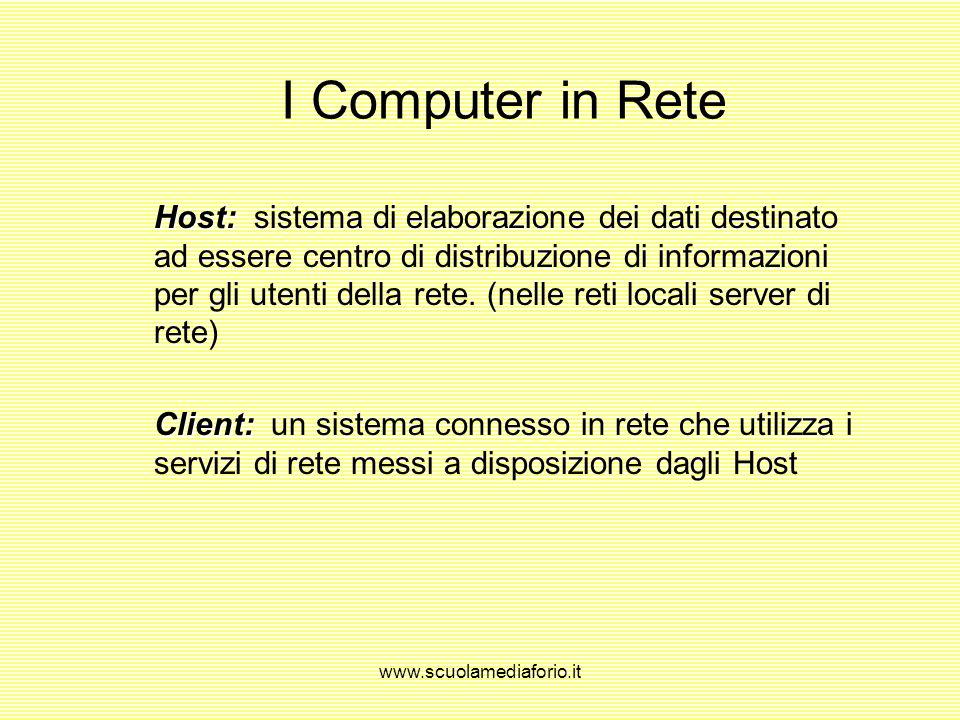 www.scuolamediaforio.it I Computer in Rete Host: Host: sistema di elaborazione dei dati destinato ad essere centro di distribuzione di informazioni per gli utenti della rete.
