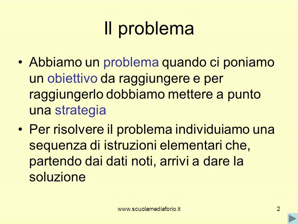www.scuolamediaforio.it2 Il problema Abbiamo un problema quando ci poniamo un obiettivo da raggiungere e per raggiungerlo dobbiamo mettere a punto una