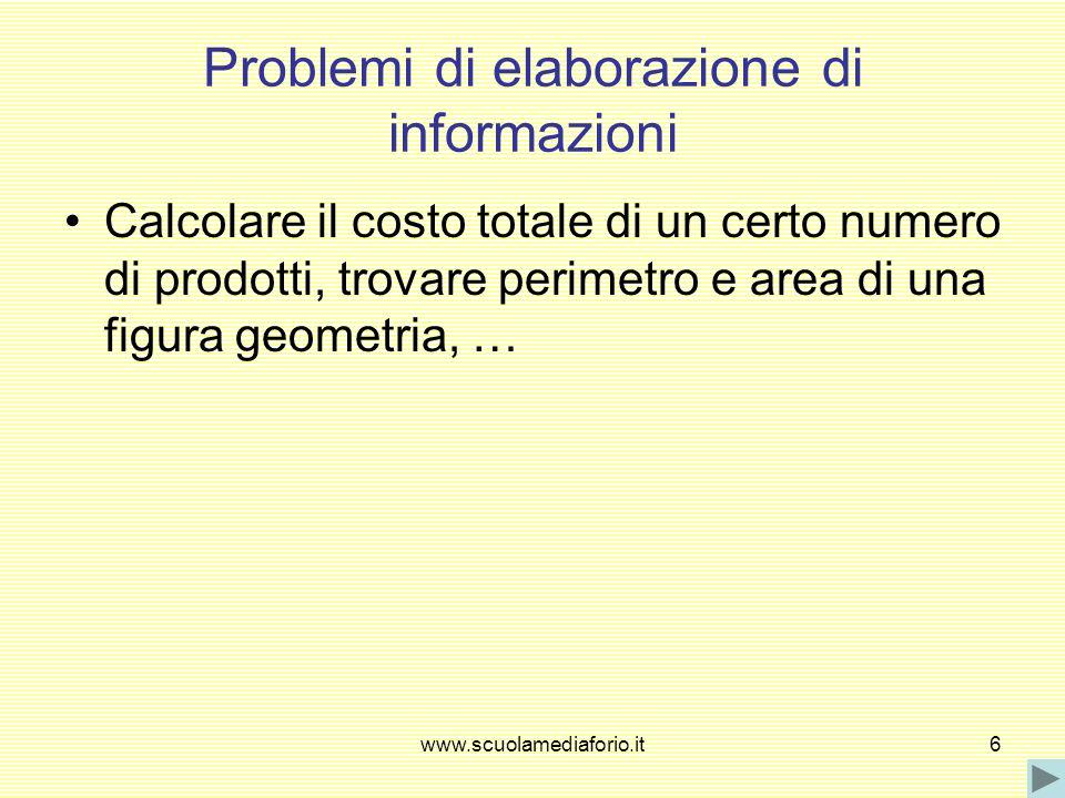 www.scuolamediaforio.it6 Problemi di elaborazione di informazioni Calcolare il costo totale di un certo numero di prodotti, trovare perimetro e area d