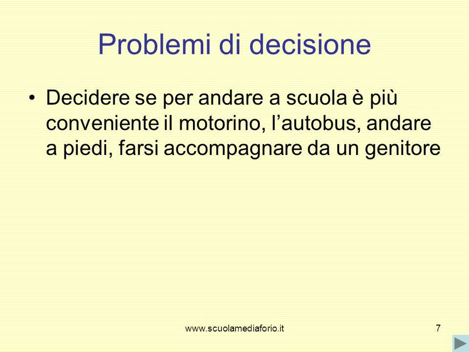 www.scuolamediaforio.it7 Problemi di decisione Decidere se per andare a scuola è più conveniente il motorino, lautobus, andare a piedi, farsi accompag
