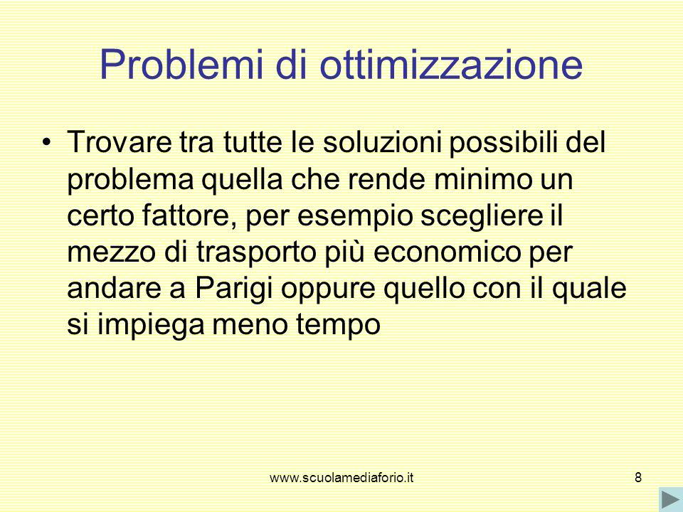 www.scuolamediaforio.it8 Problemi di ottimizzazione Trovare tra tutte le soluzioni possibili del problema quella che rende minimo un certo fattore, pe