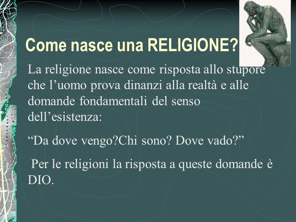La religione nasce come risposta allo stupore che luomo prova dinanzi alla realtà e alle domande fondamentali del senso dellesistenza: Da dove vengo?Chi sono.