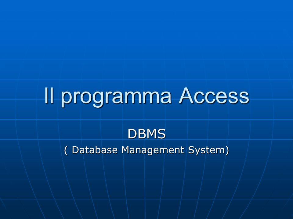 Il software Microsoft Access è un esempio di sistema per la gestione di base di dati ( database) relazionali utilizzato sul PC con sistema Operativo Windows In un database gestito da Access possono essere definite sette categorie