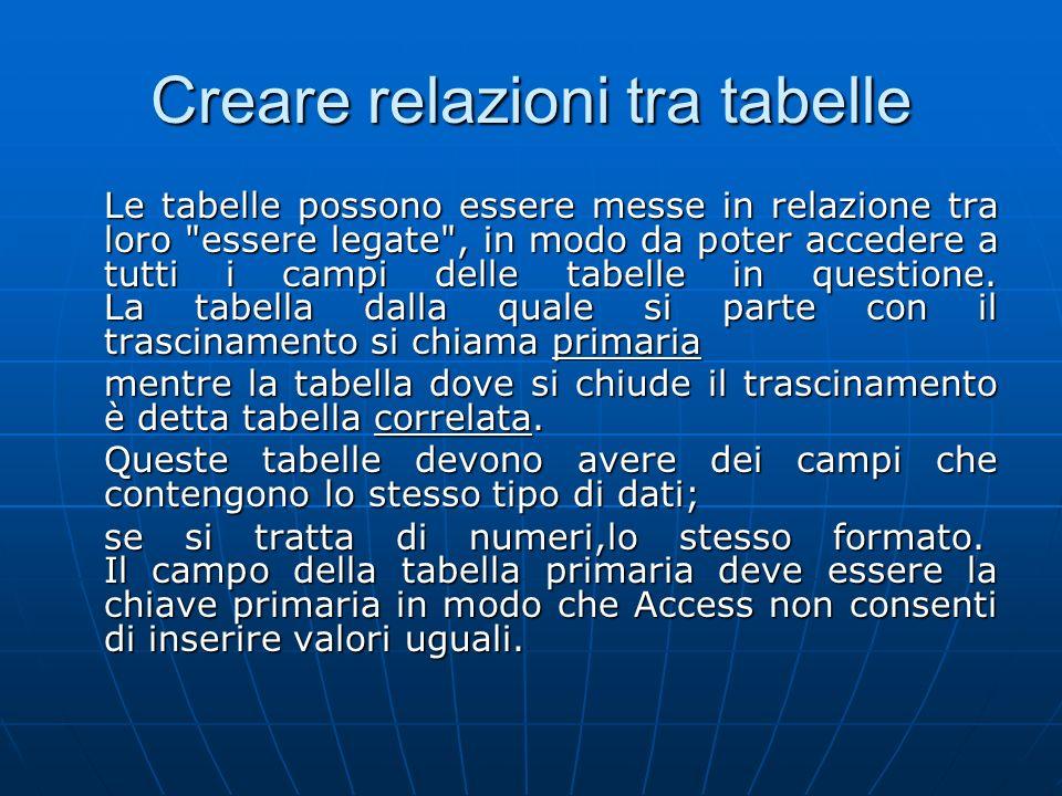 Creare relazioni tra tabelle Le tabelle possono essere messe in relazione tra loro