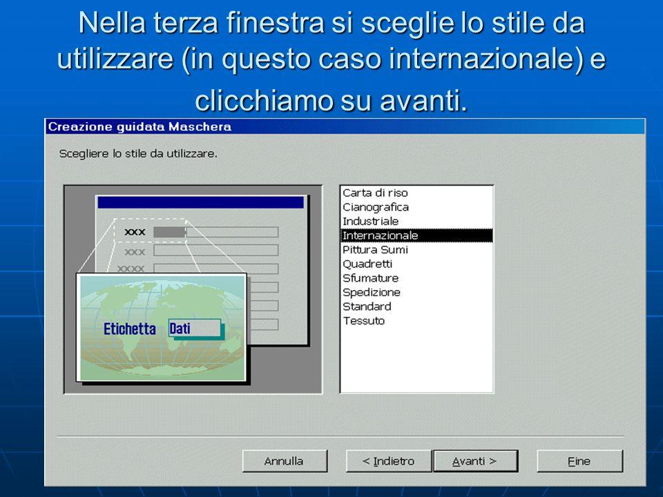 Nella terza finestra si sceglie lo stile da utilizzare (in questo caso internazionale) e clicchiamo su avanti.