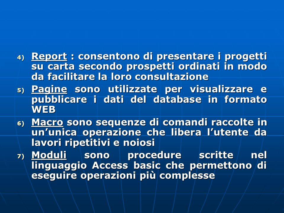 4) Report : consentono di presentare i progetti su carta secondo prospetti ordinati in modo da facilitare la loro consultazione 5) Pagine sono utilizz