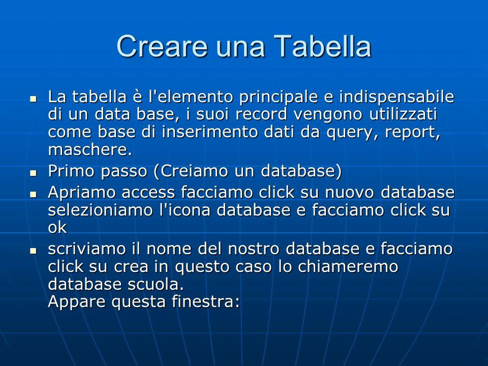 Creare una Tabella La tabella è l'elemento principale e indispensabile di un data base, i suoi record vengono utilizzati come base di inserimento dati
