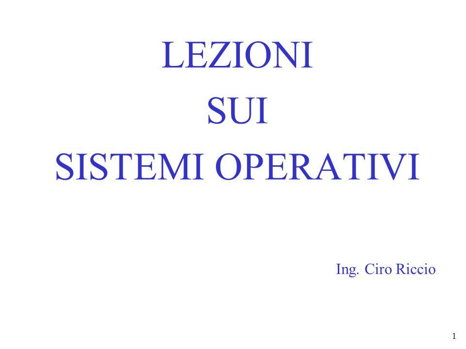 ING CIRO RICCIOLezioni sui SISTEMI OPERATIVI 1 LEZIONI SUI SISTEMI OPERATIVI Ing. Ciro Riccio