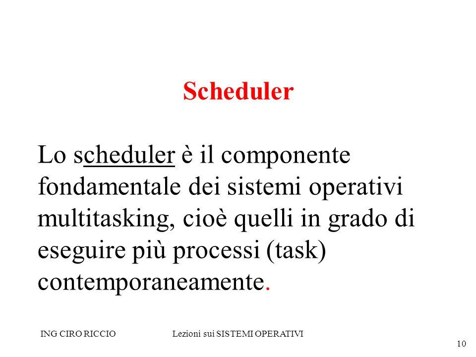 ING CIRO RICCIOLezioni sui SISTEMI OPERATIVI 10 Scheduler Lo scheduler è il componente fondamentale dei sistemi operativi multitasking, cioè quelli in