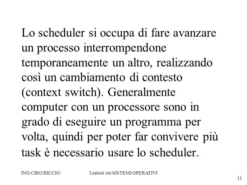 ING CIRO RICCIOLezioni sui SISTEMI OPERATIVI 11 Lo scheduler si occupa di fare avanzare un processo interrompendone temporaneamente un altro, realizza
