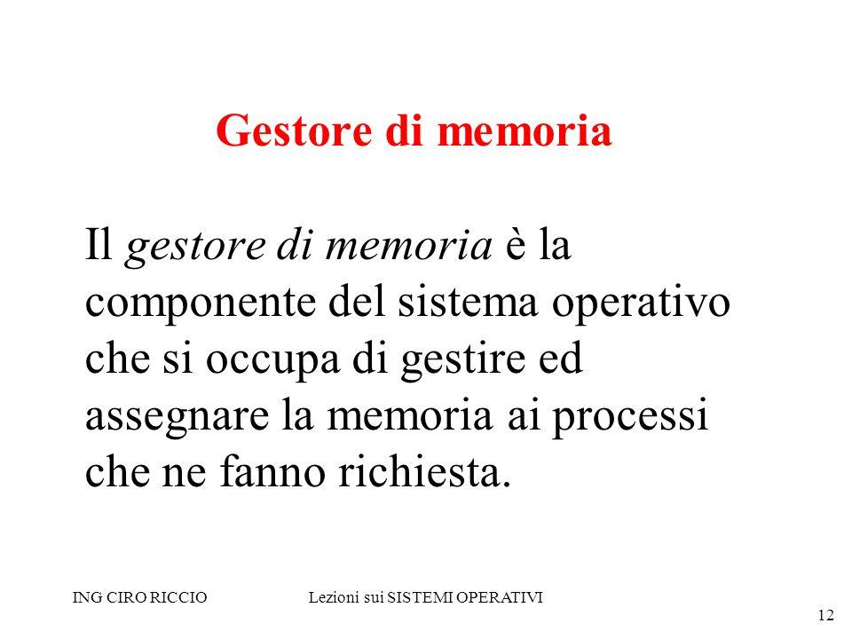 ING CIRO RICCIOLezioni sui SISTEMI OPERATIVI 12 Gestore di memoria Il gestore di memoria è la componente del sistema operativo che si occupa di gestir
