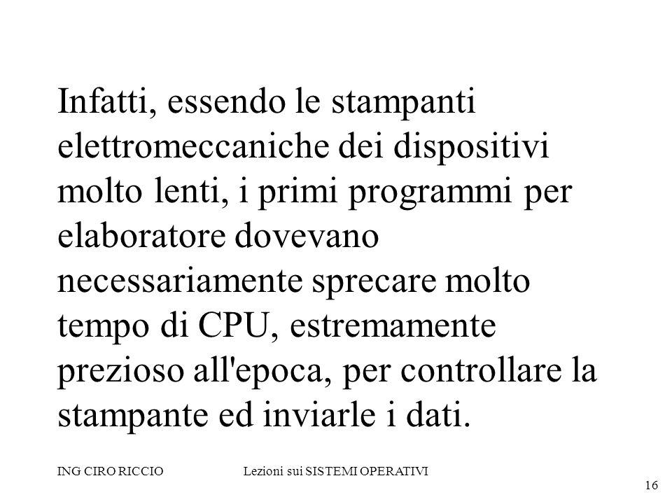 ING CIRO RICCIOLezioni sui SISTEMI OPERATIVI 16 Infatti, essendo le stampanti elettromeccaniche dei dispositivi molto lenti, i primi programmi per ela