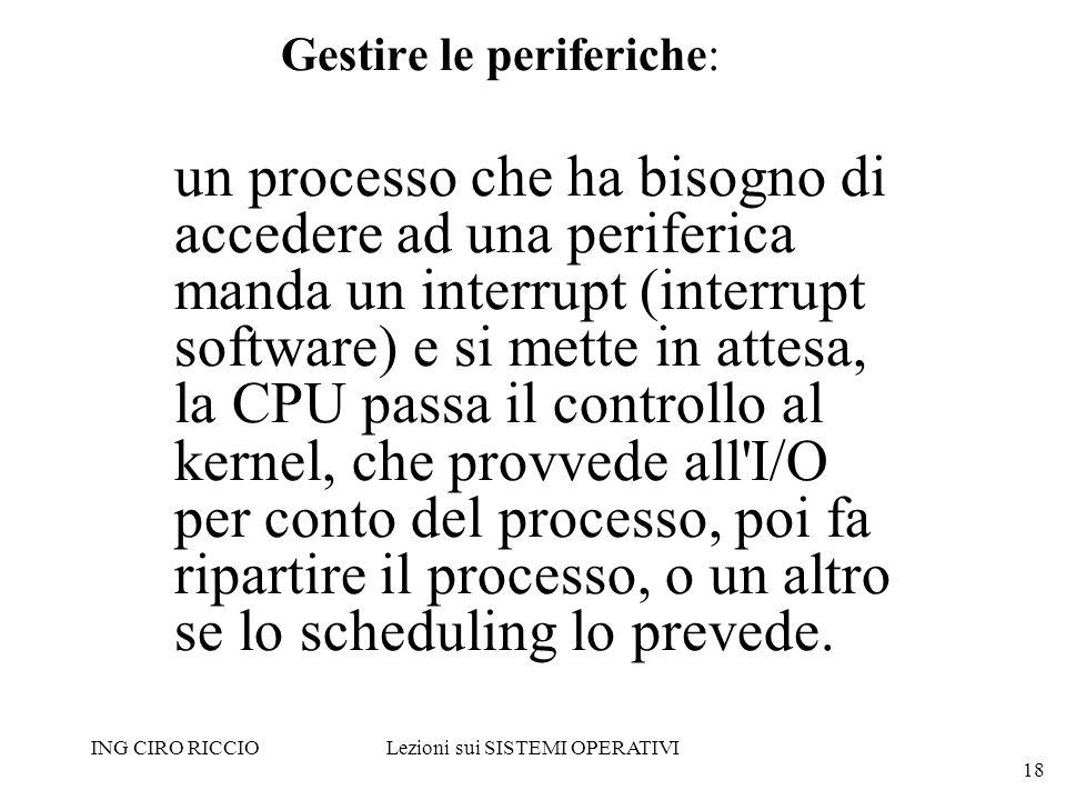ING CIRO RICCIOLezioni sui SISTEMI OPERATIVI 18 Gestire le periferiche: un processo che ha bisogno di accedere ad una periferica manda un interrupt (i