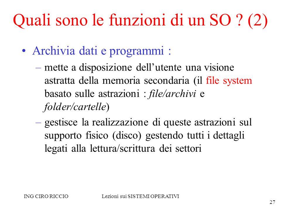 ING CIRO RICCIOLezioni sui SISTEMI OPERATIVI 27 Quali sono le funzioni di un SO ? (2) Archivia dati e programmi : –mette a disposizione dellutente una