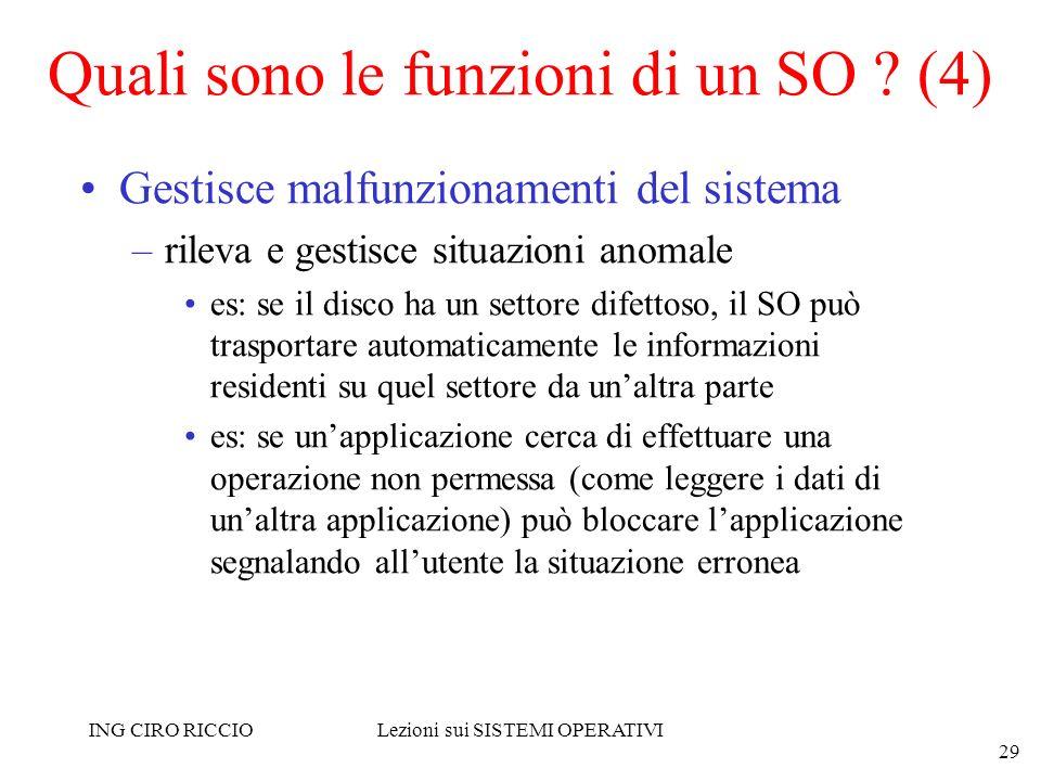 ING CIRO RICCIOLezioni sui SISTEMI OPERATIVI 29 Quali sono le funzioni di un SO ? (4) Gestisce malfunzionamenti del sistema –rileva e gestisce situazi