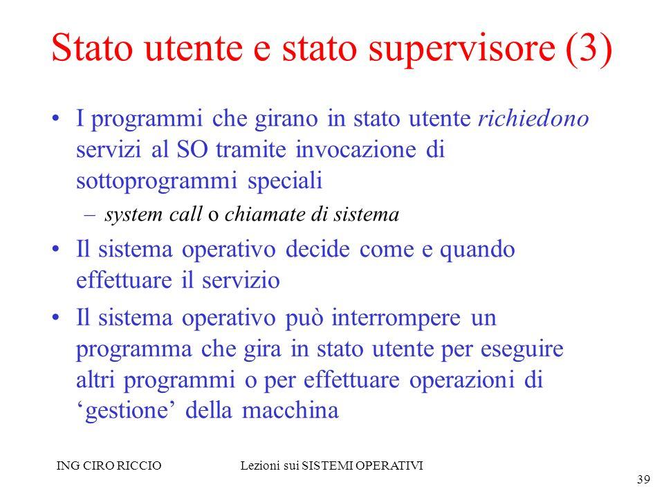 ING CIRO RICCIOLezioni sui SISTEMI OPERATIVI 39 Stato utente e stato supervisore (3) I programmi che girano in stato utente richiedono servizi al SO t