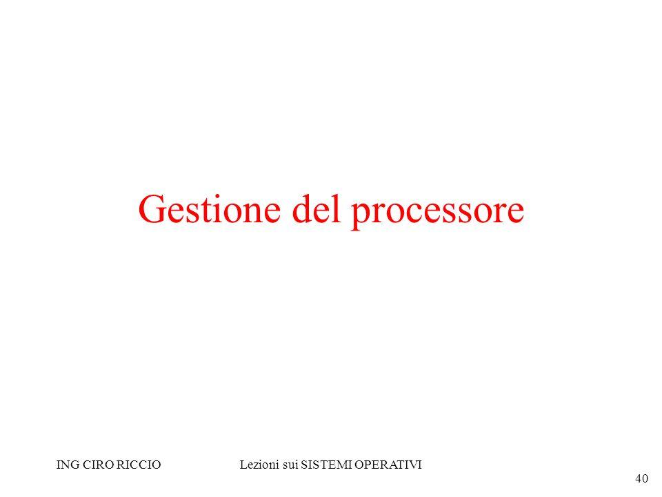 ING CIRO RICCIOLezioni sui SISTEMI OPERATIVI 40 Gestione del processore