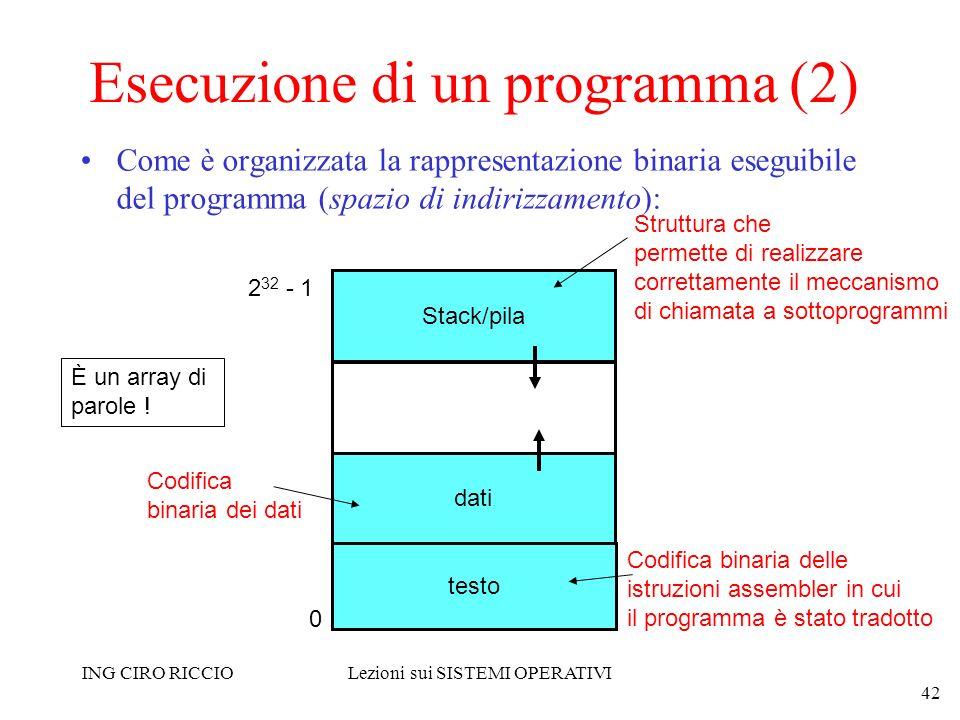 ING CIRO RICCIOLezioni sui SISTEMI OPERATIVI 42 Esecuzione di un programma (2) Come è organizzata la rappresentazione binaria eseguibile del programma