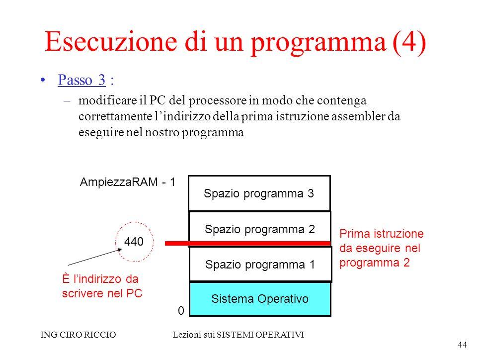 ING CIRO RICCIOLezioni sui SISTEMI OPERATIVI 44 Esecuzione di un programma (4) Passo 3 : –modificare il PC del processore in modo che contenga corrett
