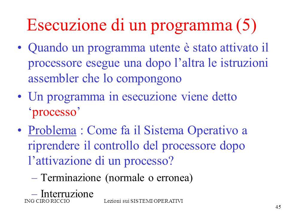 ING CIRO RICCIOLezioni sui SISTEMI OPERATIVI 45 Esecuzione di un programma (5) Quando un programma utente è stato attivato il processore esegue una do