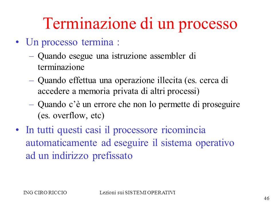 ING CIRO RICCIOLezioni sui SISTEMI OPERATIVI 46 Terminazione di un processo Un processo termina : –Quando esegue una istruzione assembler di terminazi
