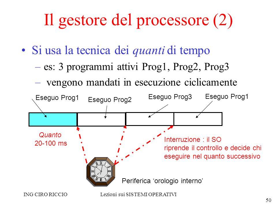 ING CIRO RICCIOLezioni sui SISTEMI OPERATIVI 50 Il gestore del processore (2) Si usa la tecnica dei quanti di tempo –es: 3 programmi attivi Prog1, Pro