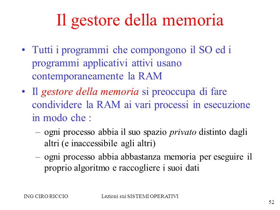 ING CIRO RICCIOLezioni sui SISTEMI OPERATIVI 52 Il gestore della memoria Tutti i programmi che compongono il SO ed i programmi applicativi attivi usan