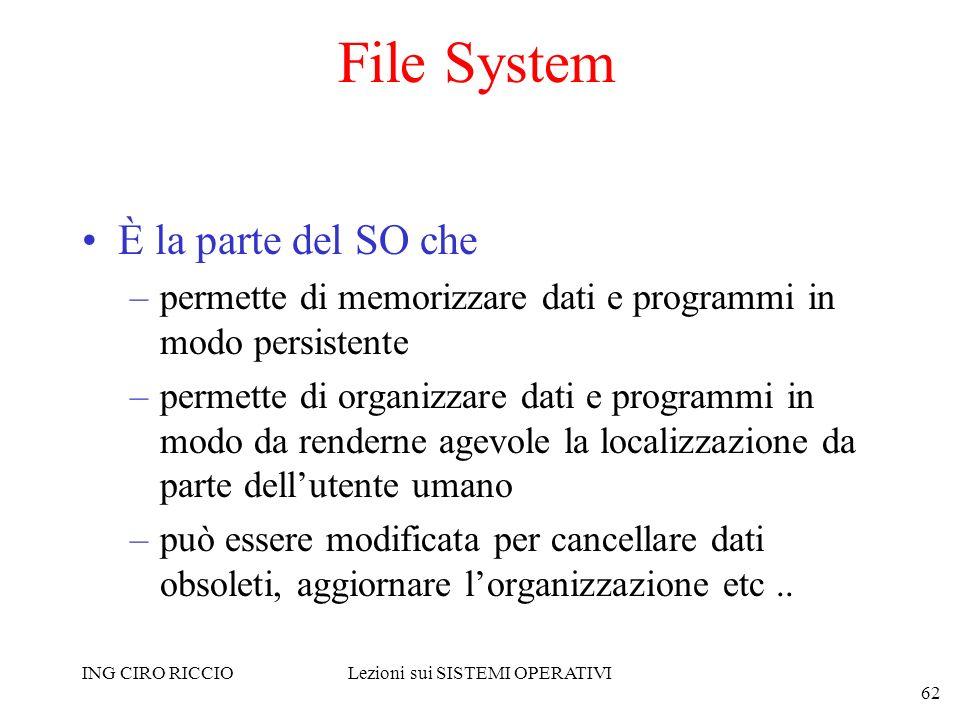 ING CIRO RICCIOLezioni sui SISTEMI OPERATIVI 62 File System È la parte del SO che –permette di memorizzare dati e programmi in modo persistente –perme