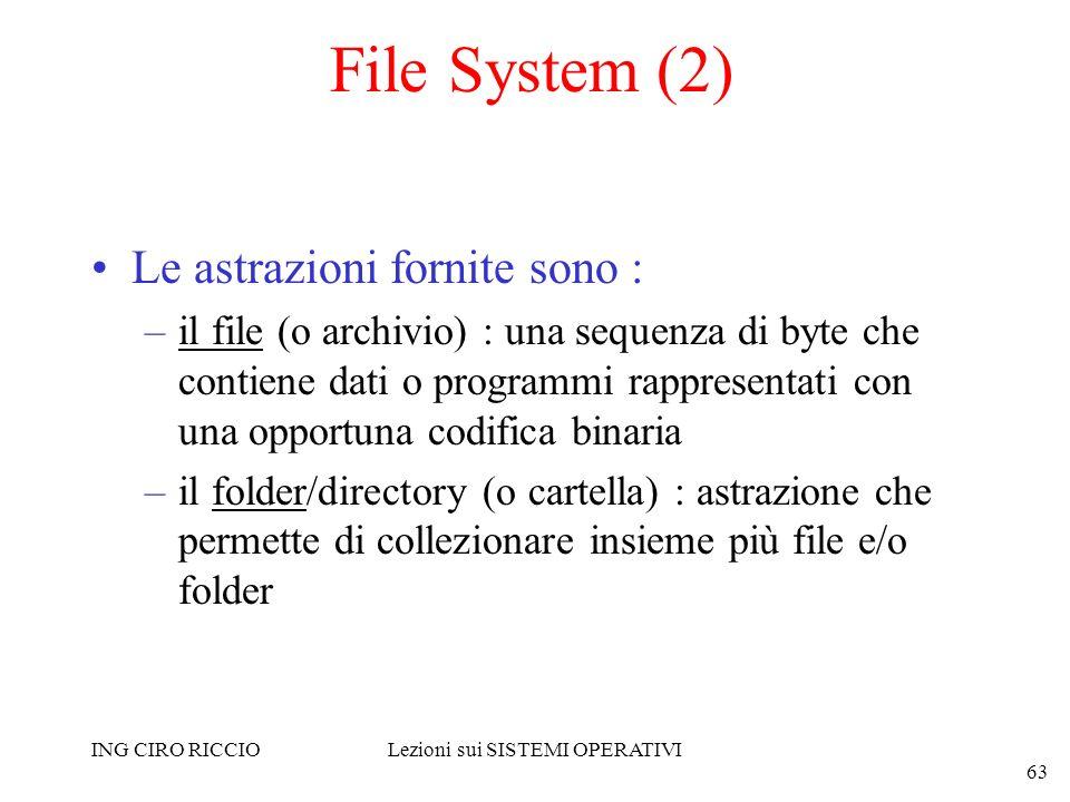 ING CIRO RICCIOLezioni sui SISTEMI OPERATIVI 63 File System (2) Le astrazioni fornite sono : –il file (o archivio) : una sequenza di byte che contiene