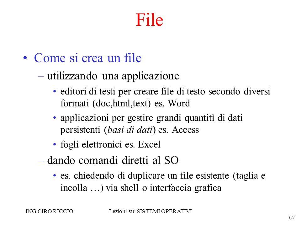 ING CIRO RICCIOLezioni sui SISTEMI OPERATIVI 67 File Come si crea un file –utilizzando una applicazione editori di testi per creare file di testo seco
