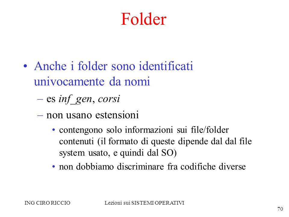 ING CIRO RICCIOLezioni sui SISTEMI OPERATIVI 70 Folder Anche i folder sono identificati univocamente da nomi –es inf_gen, corsi –non usano estensioni