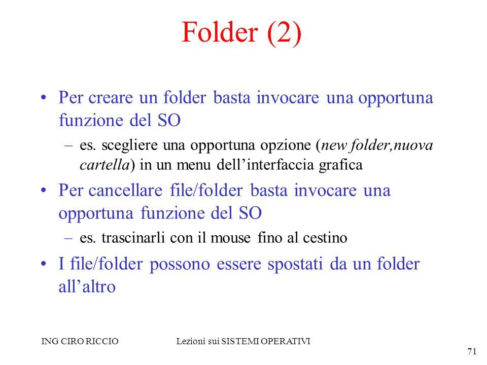 ING CIRO RICCIOLezioni sui SISTEMI OPERATIVI 71 Folder (2) Per creare un folder basta invocare una opportuna funzione del SO –es. scegliere una opport