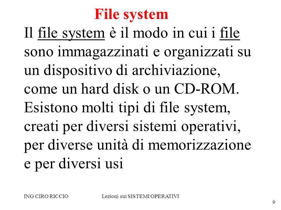 ING CIRO RICCIOLezioni sui SISTEMI OPERATIVI 9 File system Il file system è il modo in cui i file sono immagazzinati e organizzati su un dispositivo d