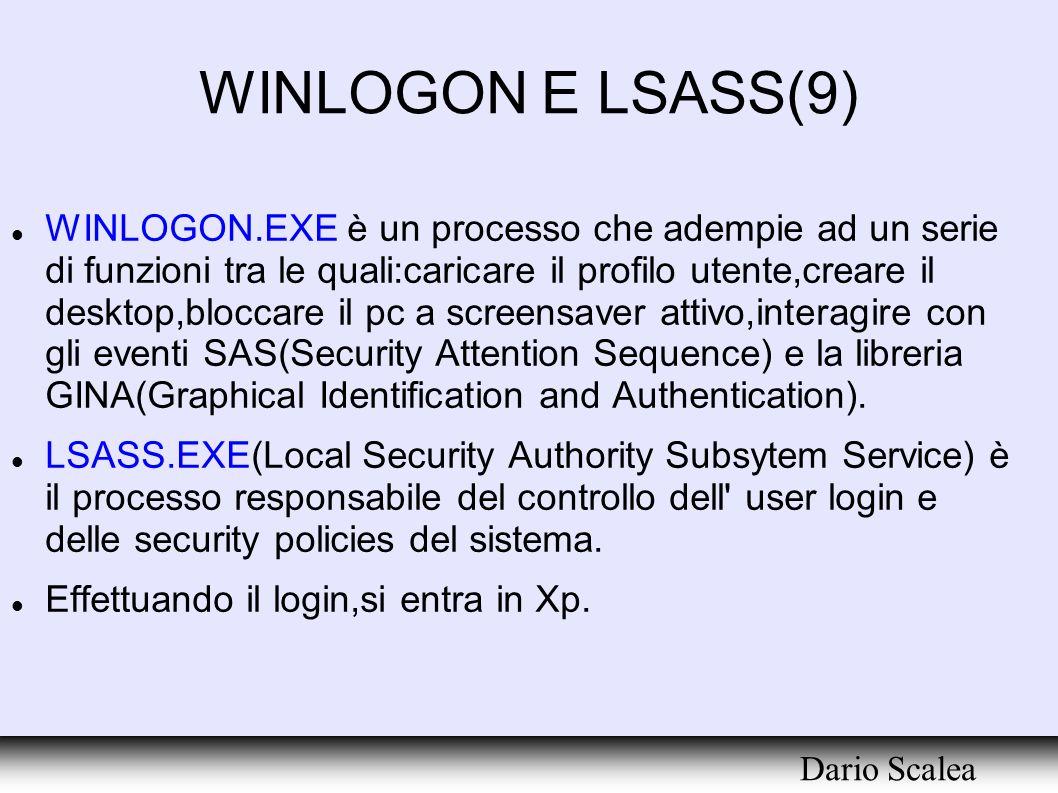 WINLOGON E LSASS(9) WINLOGON.EXE è un processo che adempie ad un serie di funzioni tra le quali:caricare il profilo utente,creare il desktop,bloccare