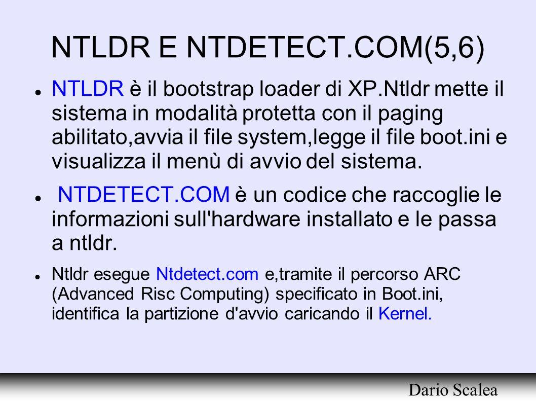 NTLDR E NTDETECT.COM(5,6) NTLDR è il bootstrap loader di XP.Ntldr mette il sistema in modalità protetta con il paging abilitato,avvia il file system,l