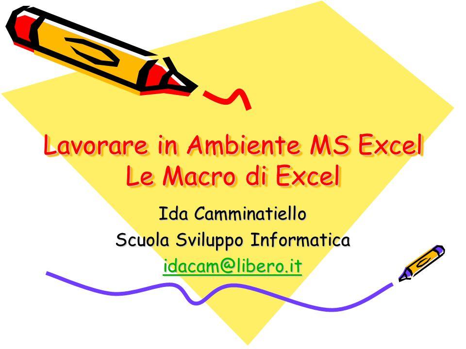 Lavorare in Ambiente MS Excel Le Macro di Excel Ida Camminatiello Scuola Sviluppo Informatica idacam@libero.it