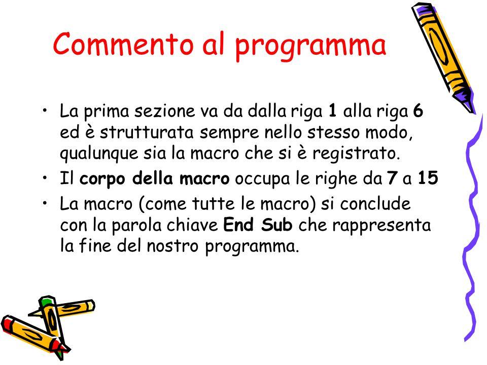 Commento al programma La prima sezione va da dalla riga 1 alla riga 6 ed è strutturata sempre nello stesso modo, qualunque sia la macro che si è regis