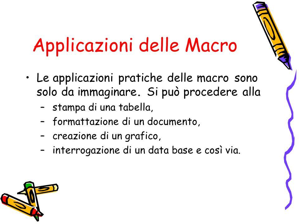 Applicazioni delle Macro Le applicazioni pratiche delle macro sono solo da immaginare. Si può procedere alla – stampa di una tabella, – formattazione