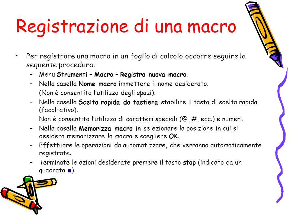 Registrazione di una macro Per registrare una macro in un foglio di calcolo occorre seguire la seguente procedura: –Menu Strumenti – Macro – Registra
