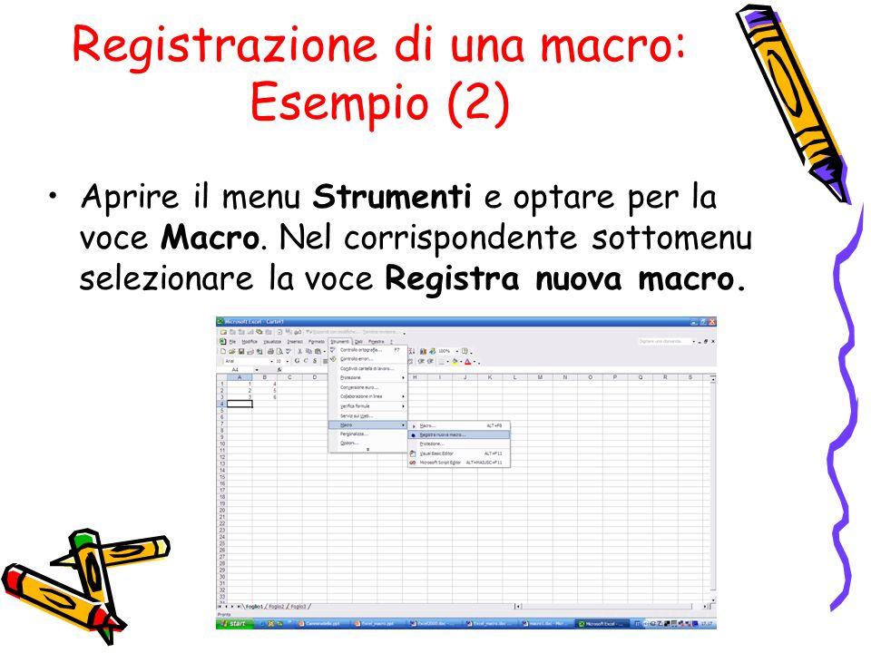 Registrazione di una macro: Esempio (2) Aprire il menu Strumenti e optare per la voce Macro. Nel corrispondente sottomenu selezionare la voce Registra