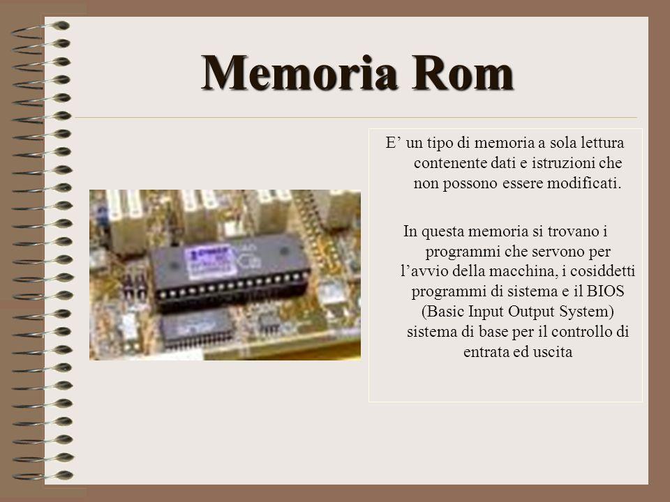 MemoriaRom Memoria Rom E un tipo di memoria a sola lettura contenente dati e istruzioni che non possono essere modificati. In questa memoria si trovan