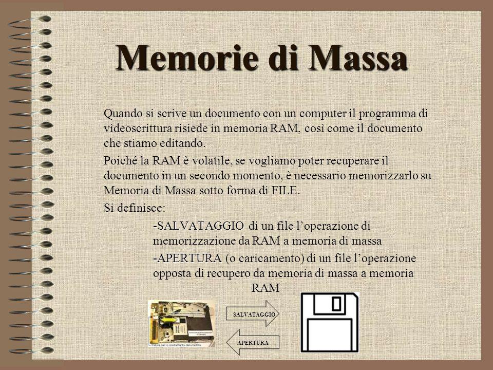 Memorie di Massa Quando si scrive un documento con un computer il programma di videoscrittura risiede in memoria RAM, così come il documento che stiam