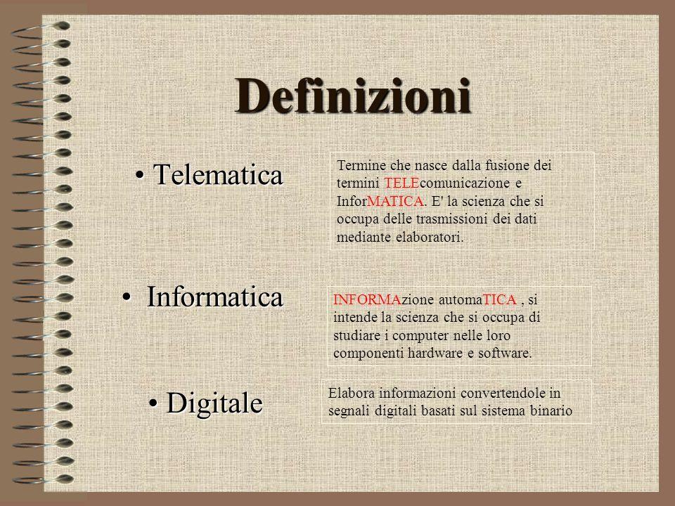 Definizioni Telematica Telematica Termine che nasce dalla fusione dei termini TELEcomunicazione e InforMATICA. E' la scienza che si occupa delle trasm